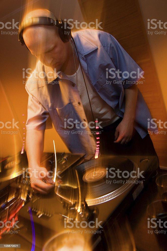 Hip-hop deejay playing vinyl record stock photo
