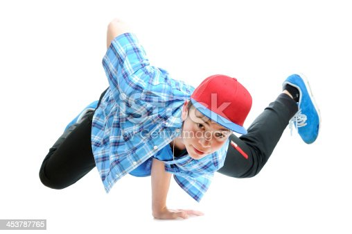 istock hip-hop style dancer performing against a white background 453787765