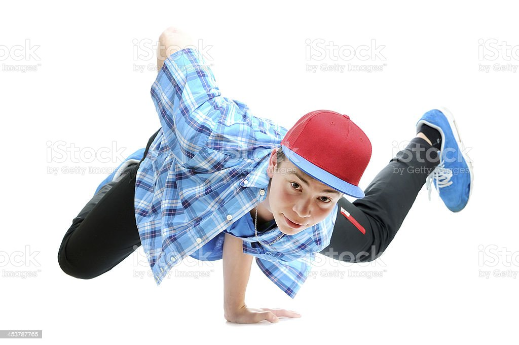 hip-hop style dancer performing against a white background stock photo