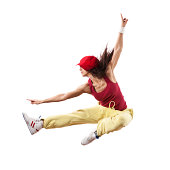 """""""Young female jumping, isolated on white"""""""