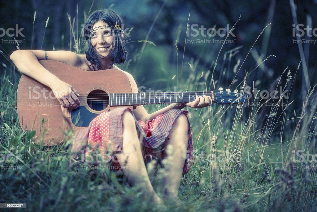 Hippie girl stock photo
