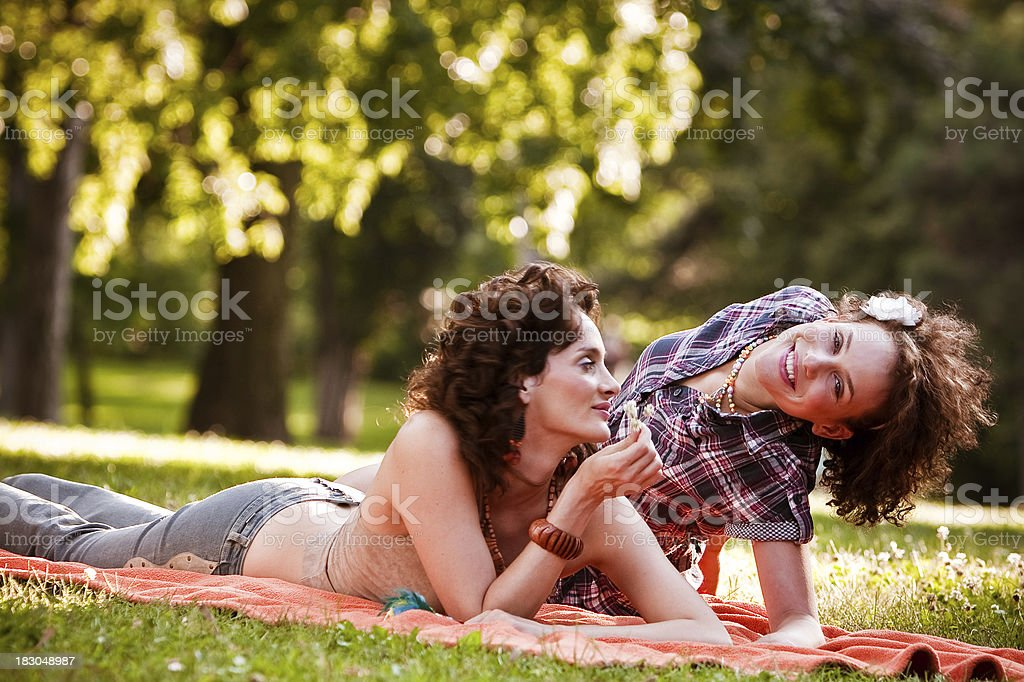 Hippie girls in the nature royalty-free stock photo