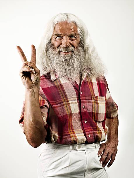 hippie großvater - hippie stock-fotos und bilder