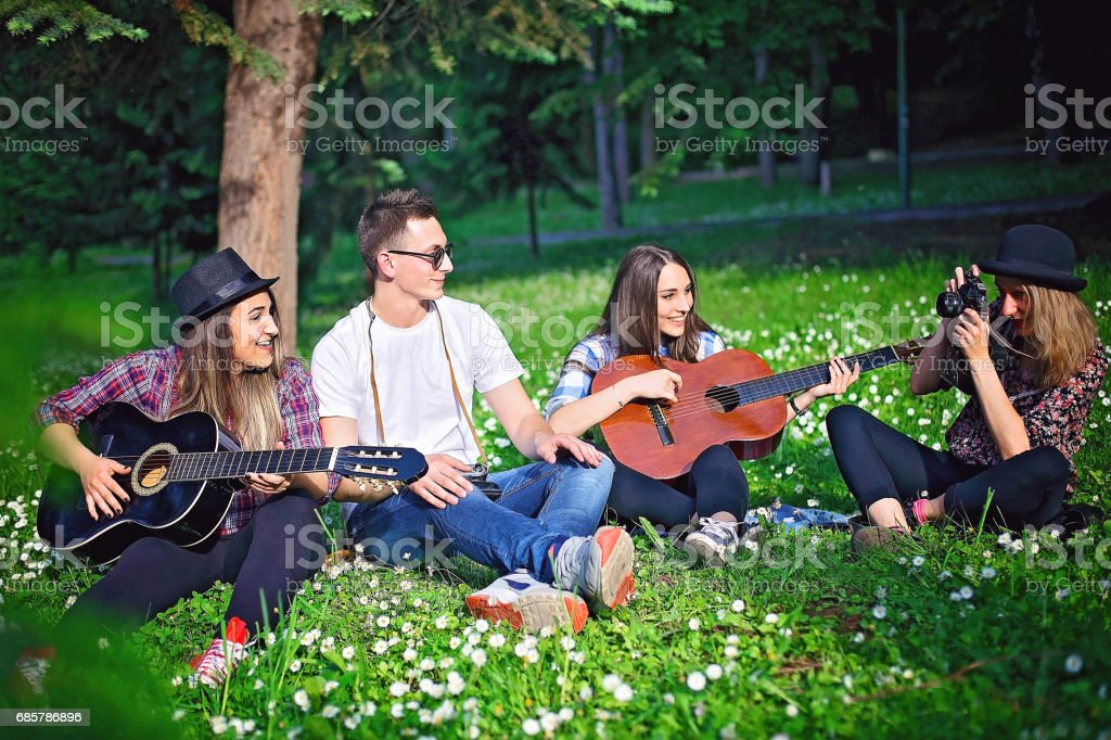 Hippie Group royalty-free stock photo