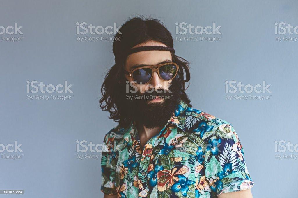 Hippie Mann Porträt – Foto