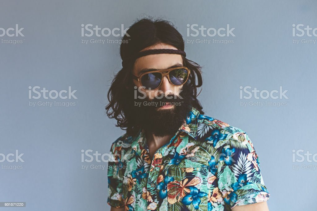 Hippie Man portrait stock photo