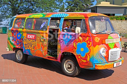 istock hippie van is symbol of music festival Exit held in Novi Sad 855011334
