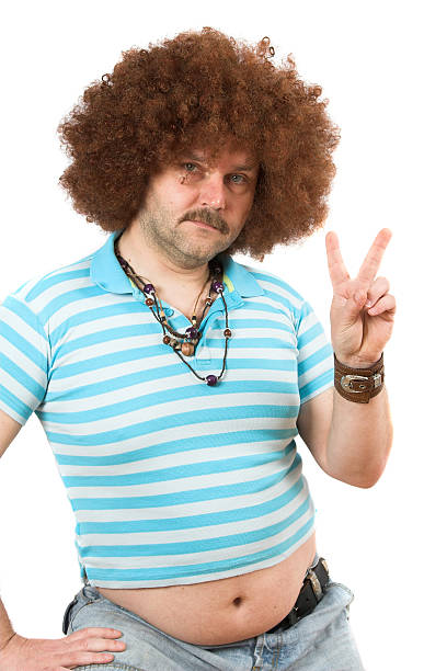 hippie mit beerbelly - ausgefallene mode für mollige stock-fotos und bilder
