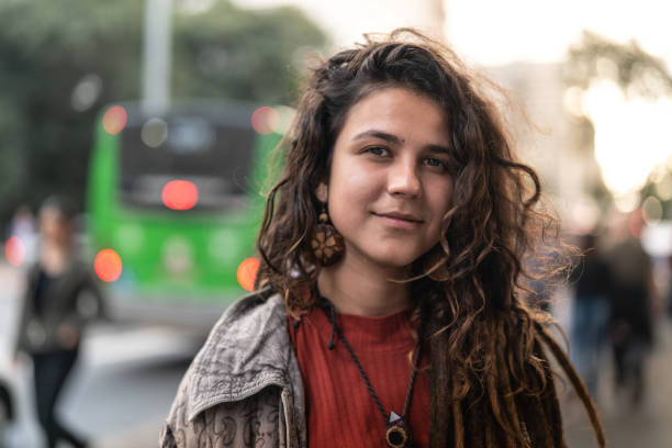 Hippie Young Woman Portrait in the City stock photo