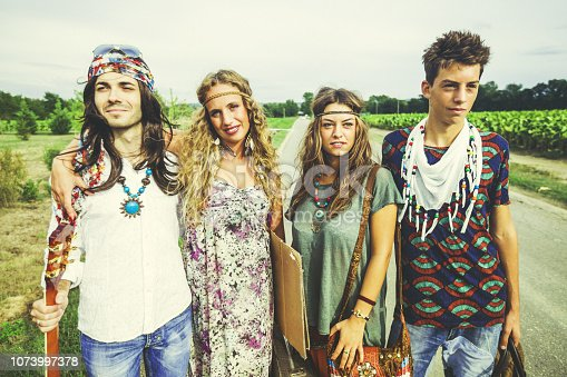 Hippies: old fashioned group of friends