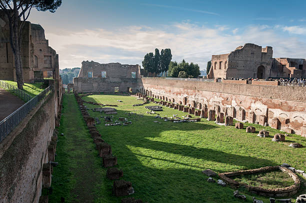 Hippodrome of Domitian View of the Hippodrome of Domitian on the Palatine Hill, Rome, Italy palatine hill rome stock pictures, royalty-free photos & images