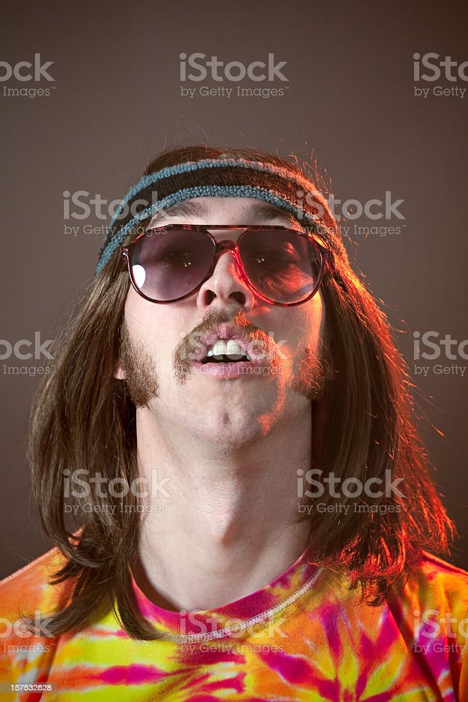 Hippy Man With Mustache Portrait stock photo