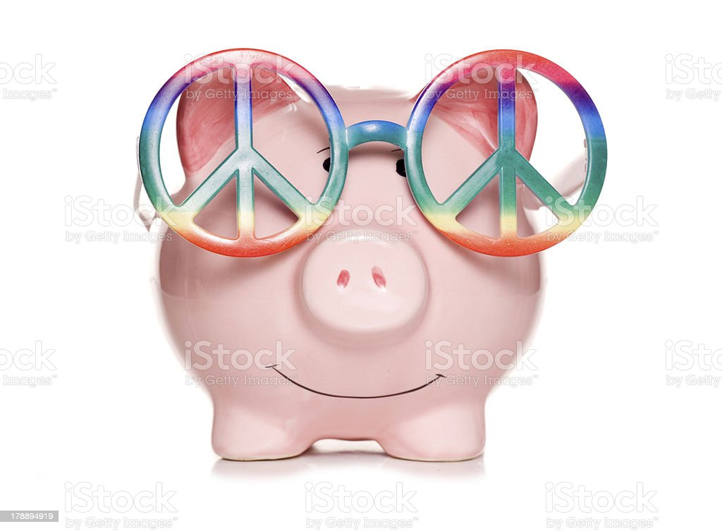 hippy piggy bank cut out stock photo