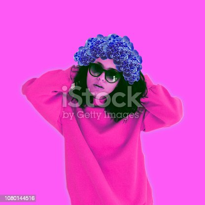 1125575680 istock photo Hipster alien pink girl in trendy pullover clothes with flower wreath on her head 1080144516