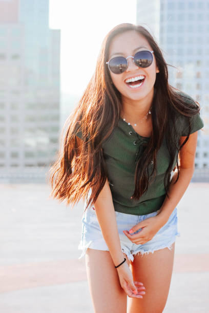 Hipster Asian Girl Southern California stock photo