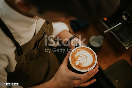 latte, working, barista, skill, expertise, concentration, men, one person, passion, business, hipster person, Bangkok, Thailand, milk