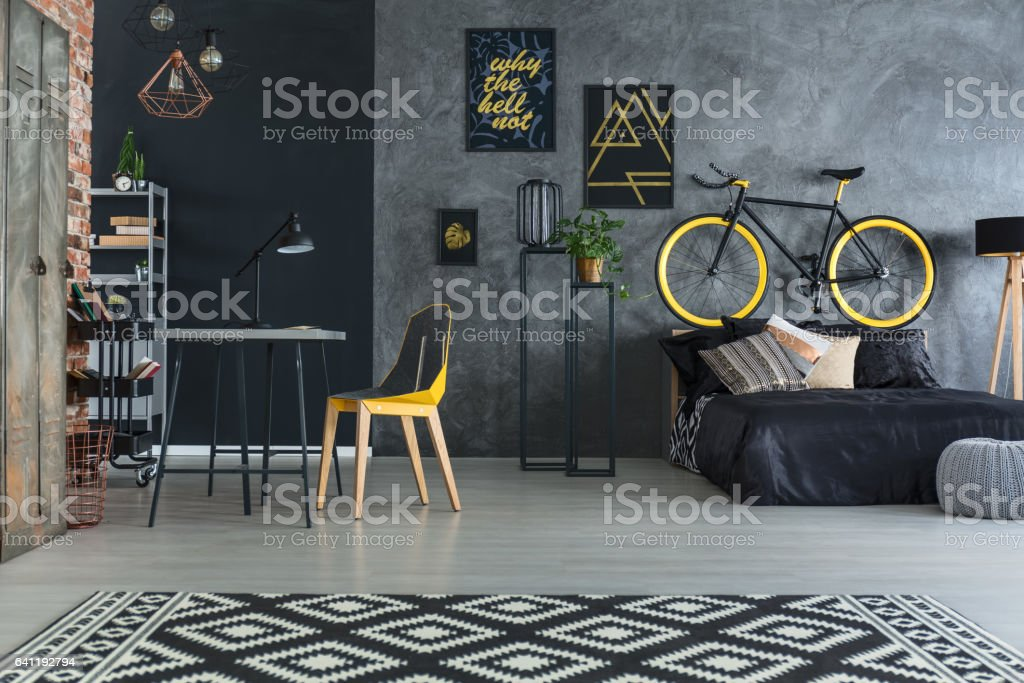 Hipster bedroom with bed stock photo
