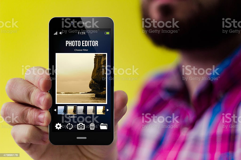 Hipster blog smartphone stock photo