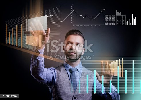 istock Hipster businessman with virtual screen 519493541