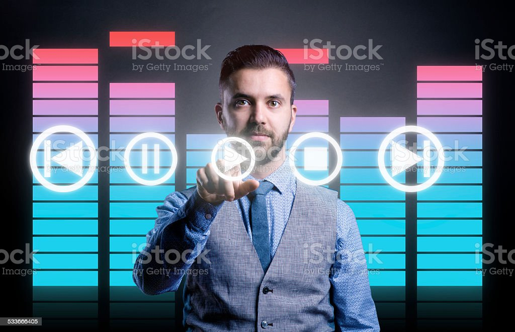 Hipster businessman with virtual screen stock photo