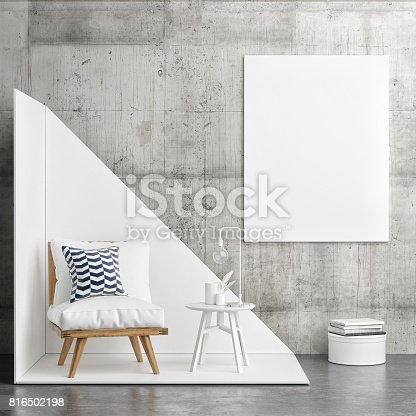 istock Hipster corner with white poster, interior concept 816502198