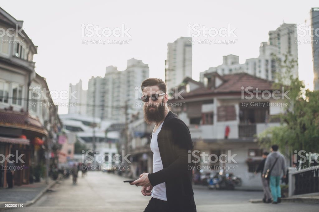 Hipster downtown stock photo