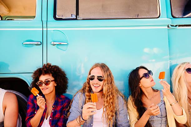 Hipster eating icecream stock photo