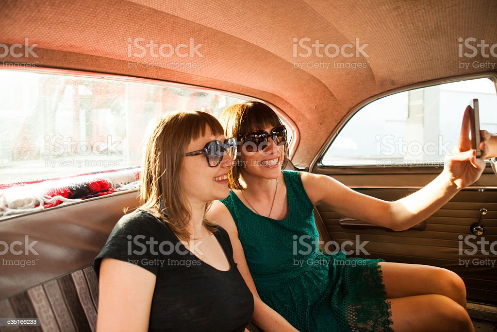 Hipster Friends Take Selfie Together stock photo