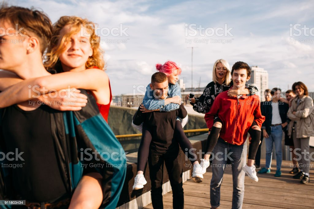 hipster gang bff carefree teenage friend holidays stock photo