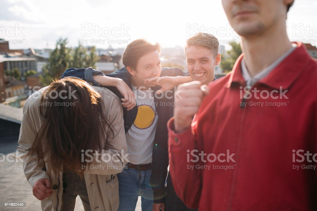 hipster gang laughing bff carefree teenage hangout stock photo