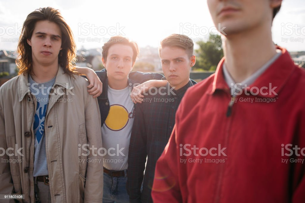 hipster gang man friends loyalty bff support unity stock photo