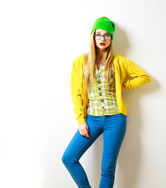 Hipster Girl at White Background. Spring Fashion. Not Isolated. stock photo