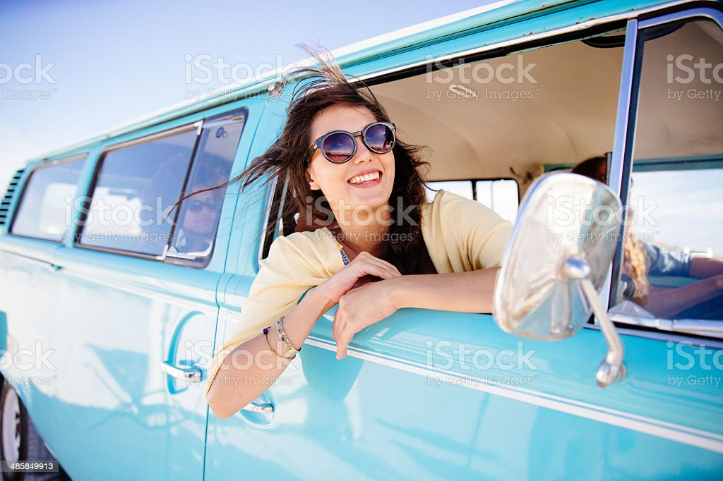 Hipster girl in car stock photo