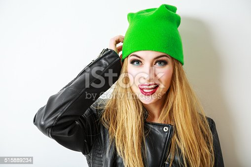 istock Hipster Girl in Green Beanie Hat on White 515889234