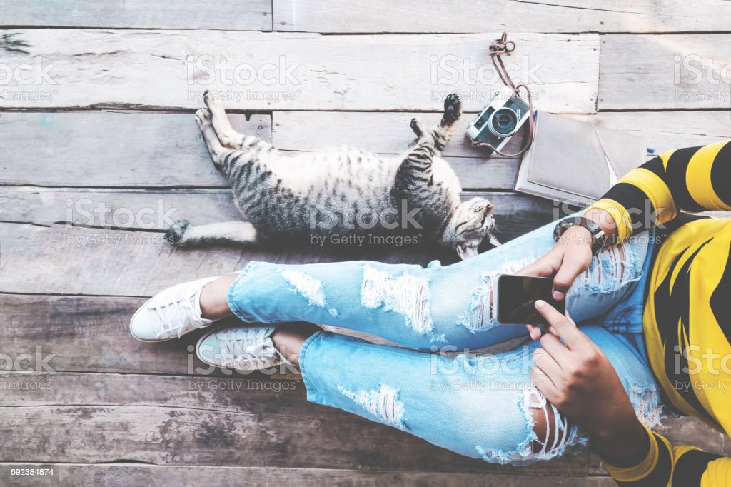 Hipster girl lifestyle stock photo