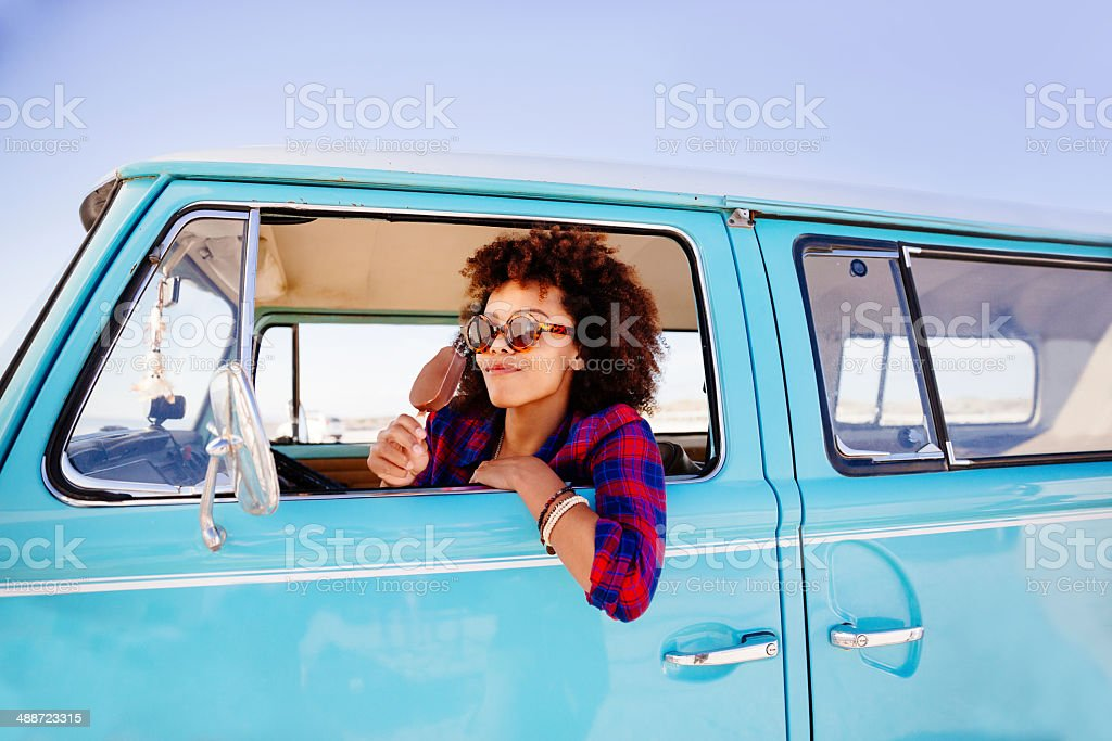Hipster girl with icecream stock photo