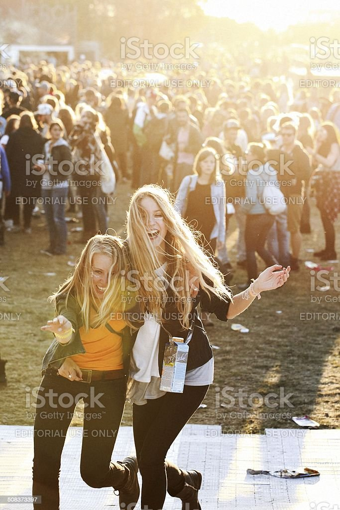 hipster girls at a music festival stock photo