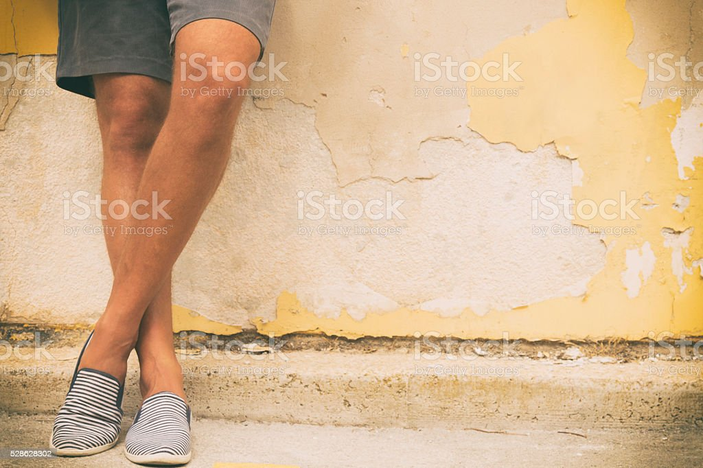 Hipster guy enjoy outdoors. stock photo