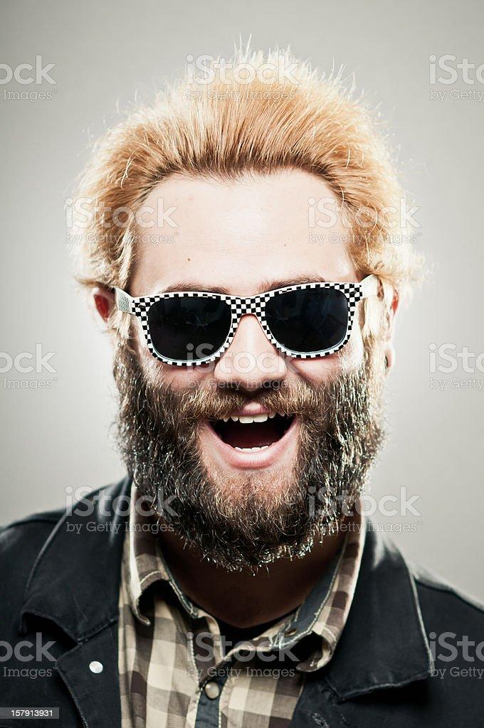 Hipster Guy Wearing Checkered Wayfarers stock photo