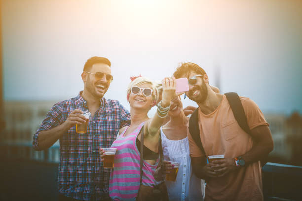 hipster have selfie time - concert selfie stock photos and pictures