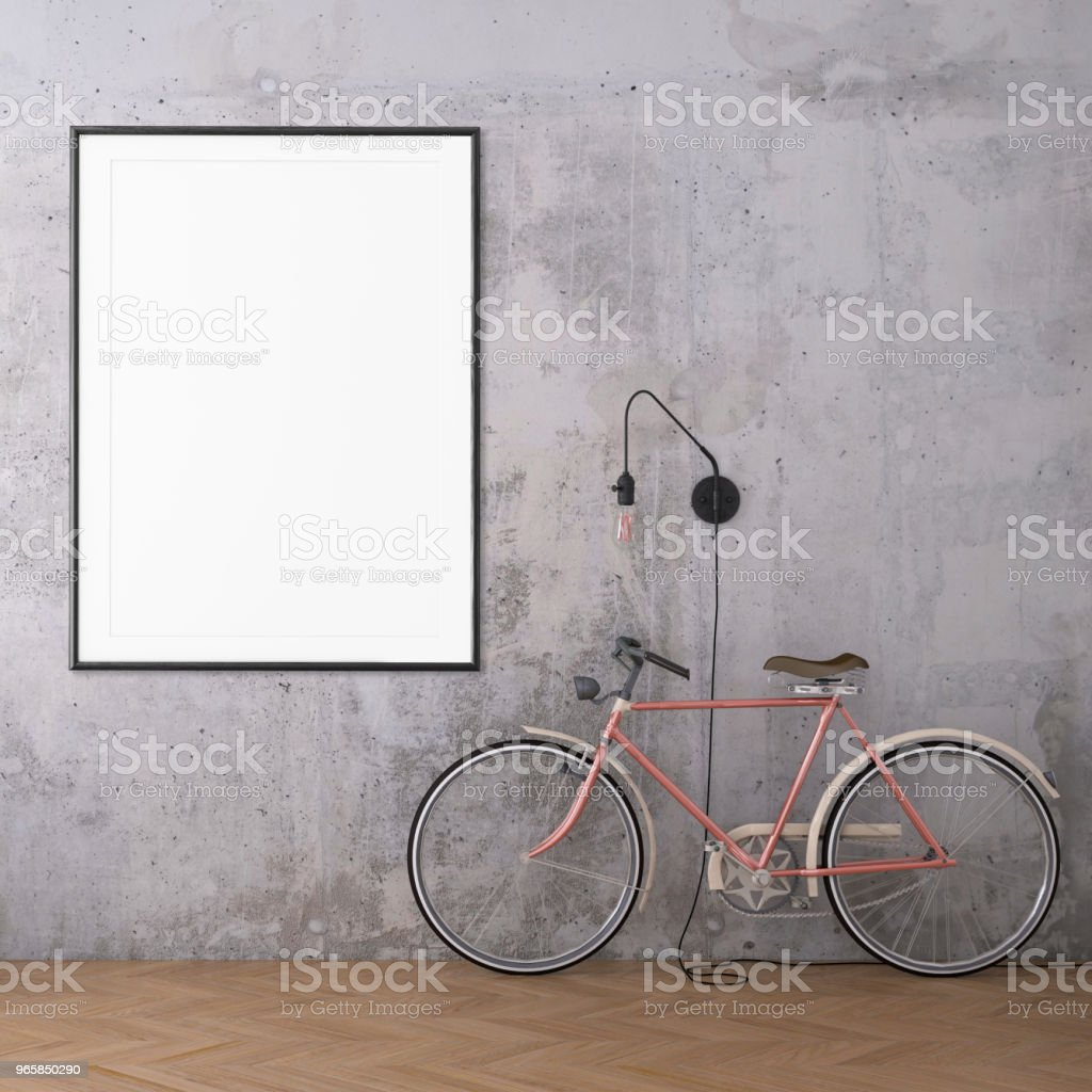 Hipster interior scene with bicycle and picture frame template - Royalty-free Art Stock Photo