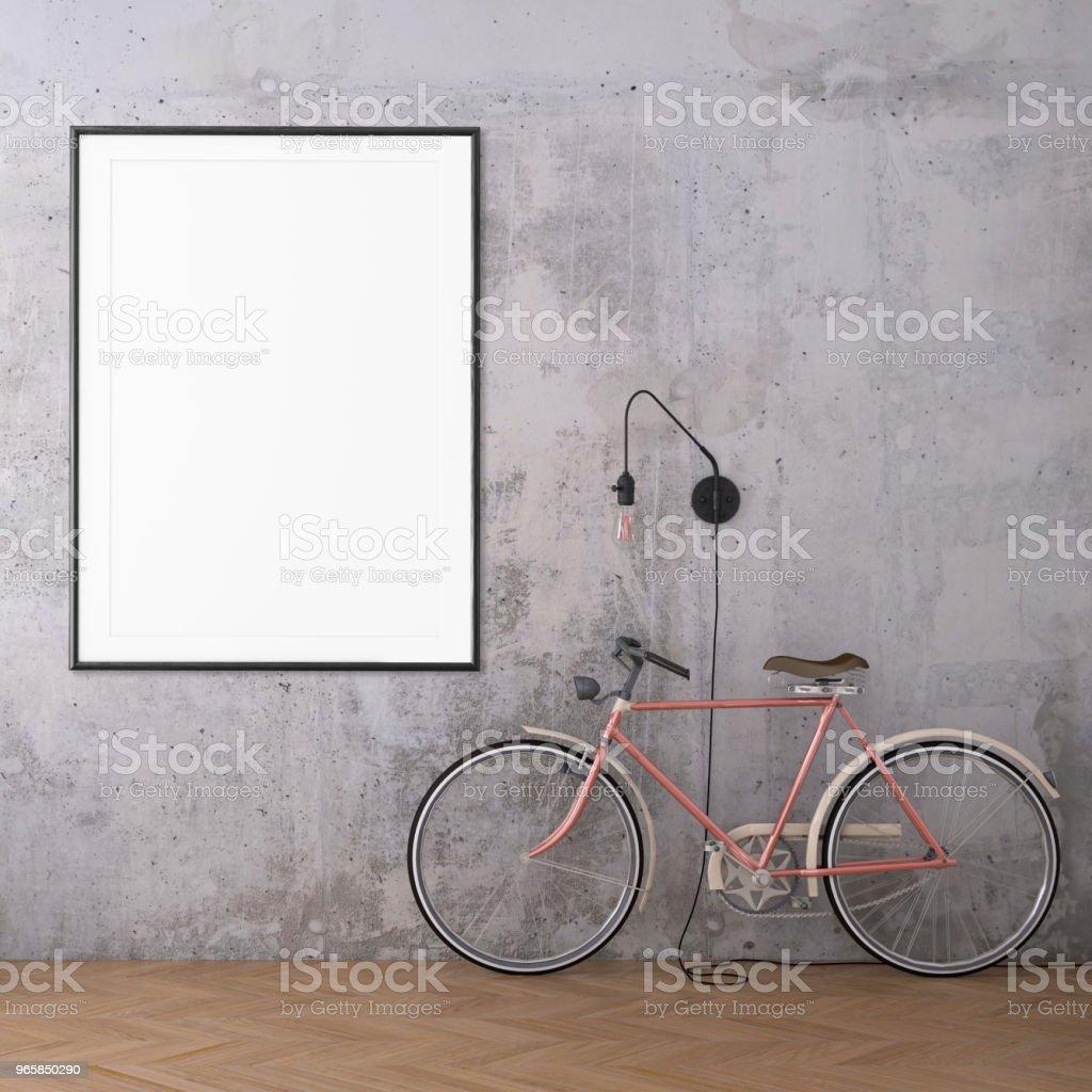 Hipster interieur scène met fiets en foto frame sjabloon - Royalty-free Achtergrond - Thema Stockfoto