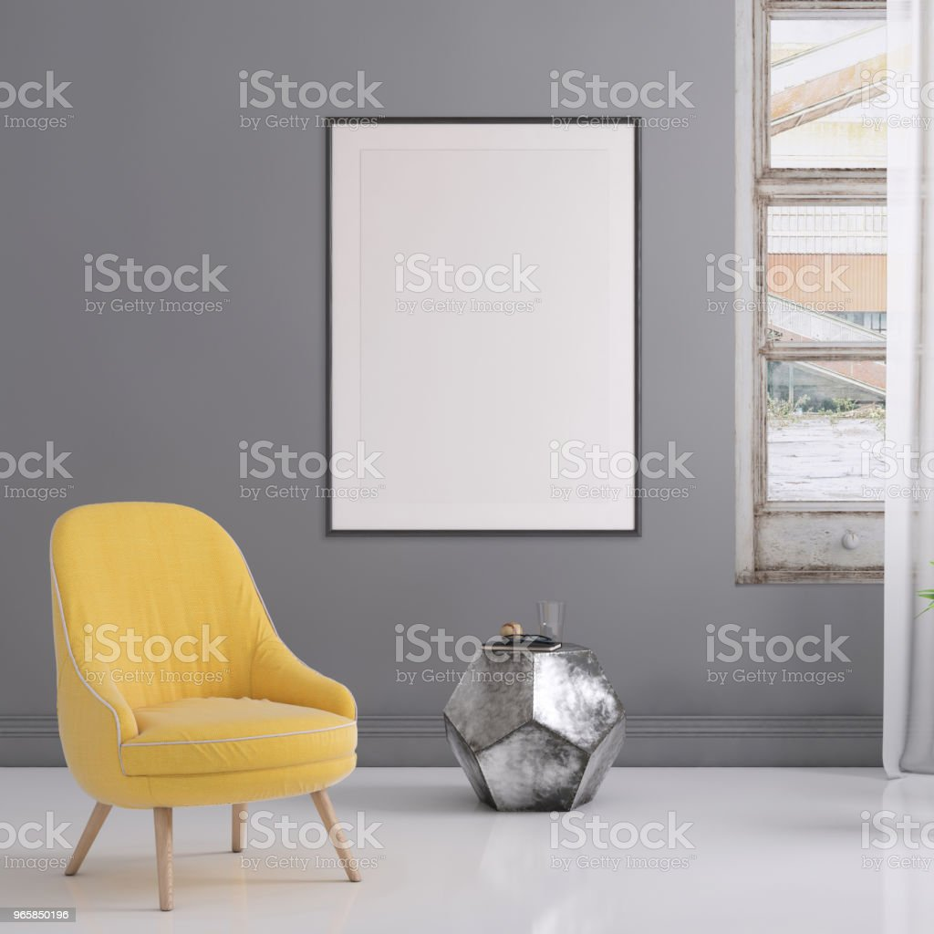 Hipster interior scene with pastel colored armchair and picture frame template - Royalty-free Apartment Stock Photo