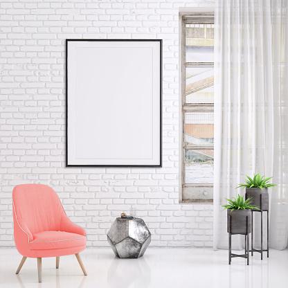 Hipster Interieur Scène Met Pastel Gekleurde Leunstoel En Foto Frame Sjabloon Stockfoto en meer beelden van Achtergrond - Thema