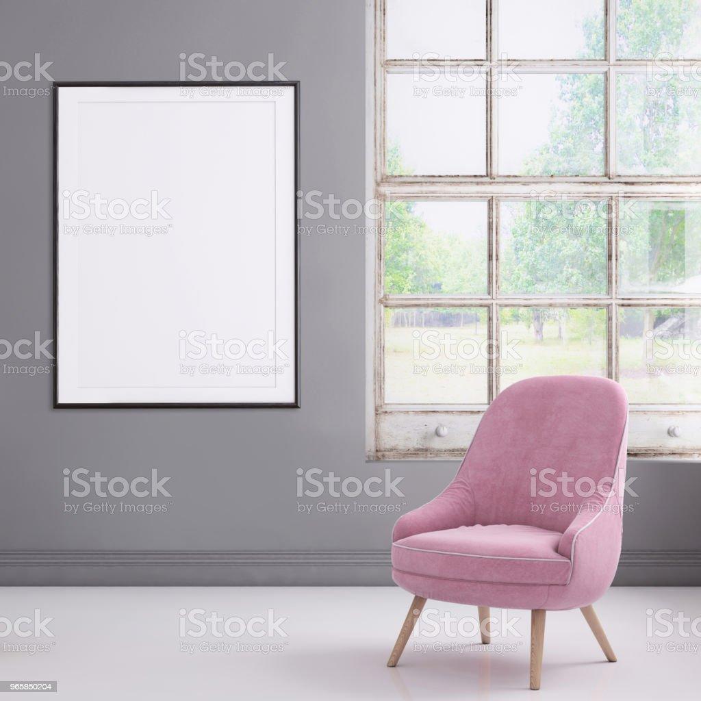 Hipster interieur scène met pastel gekleurde leunstoel en foto frame sjabloon - Royalty-free Achtergrond - Thema Stockfoto