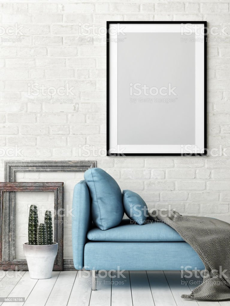 Hipster Living Room Concept With Mock Up Poster White Brick Wall And ...
