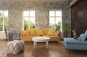 Modern hipster living room apartment interior. Yellow sofa, blue armchair, white coffee table and a cushion seat. blackboard wall. window with sunlight. wood flooring. horizontal composition