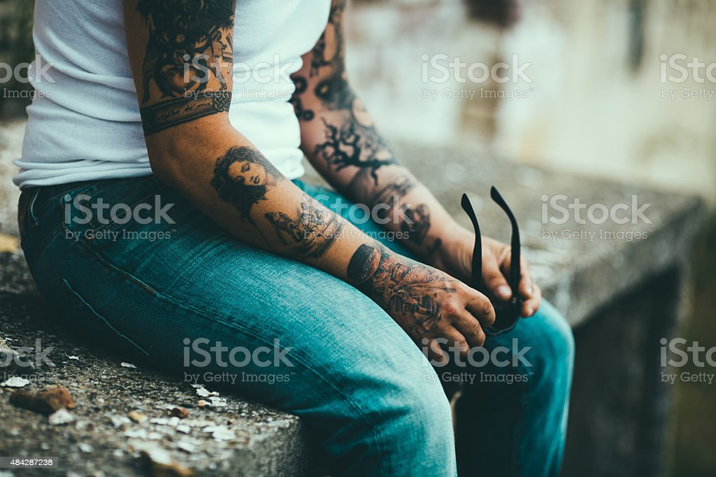 Hipster male chilling stock photo