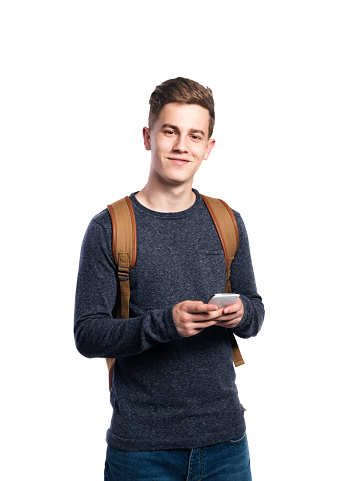 istock Hipster man holding smartphone, talking. Isolated. 623944046