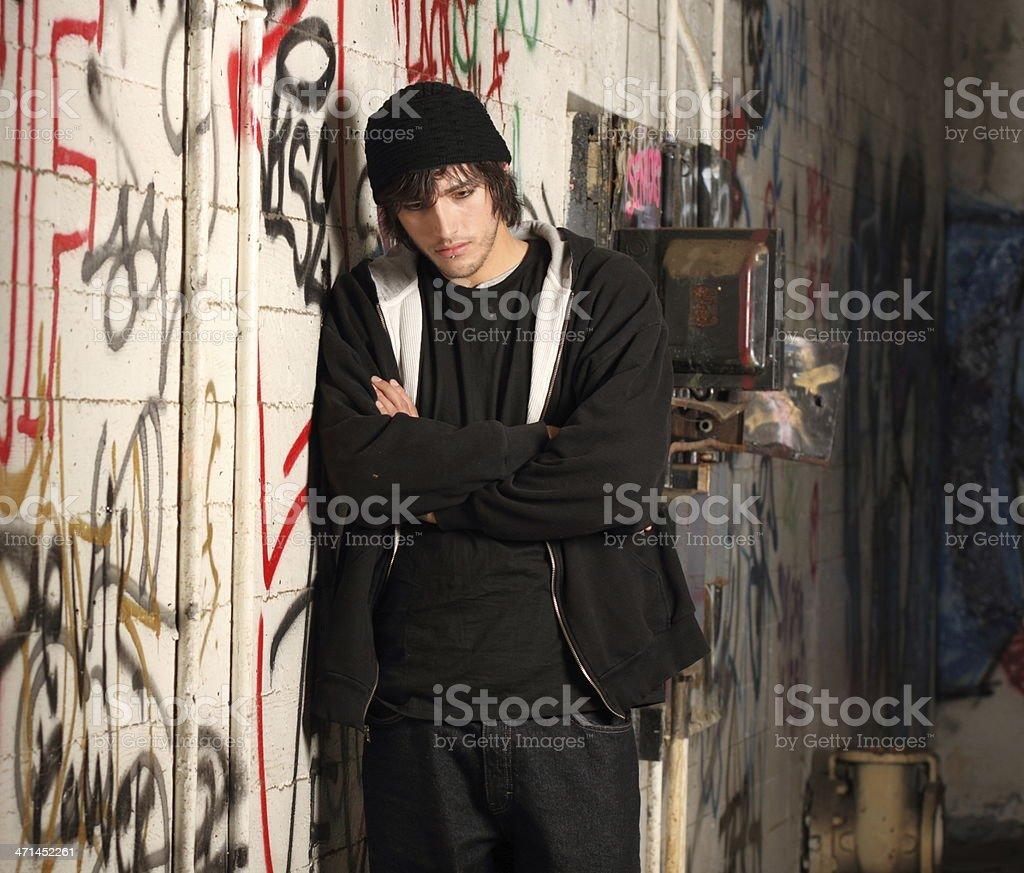 Hipster Man in Graffiti Room Horizontal royalty-free stock photo
